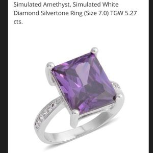 Jewelry - Simulated Amethyst (5.2cts) White Gold Plated Ring